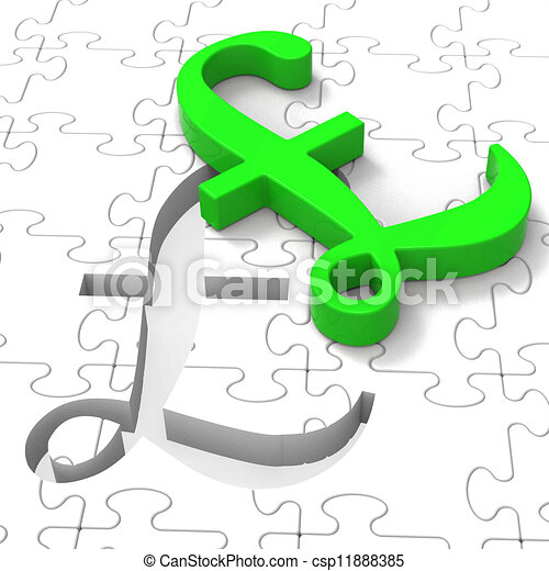 Pound Puzzle Showing United Kingdom Banking - csp11888385