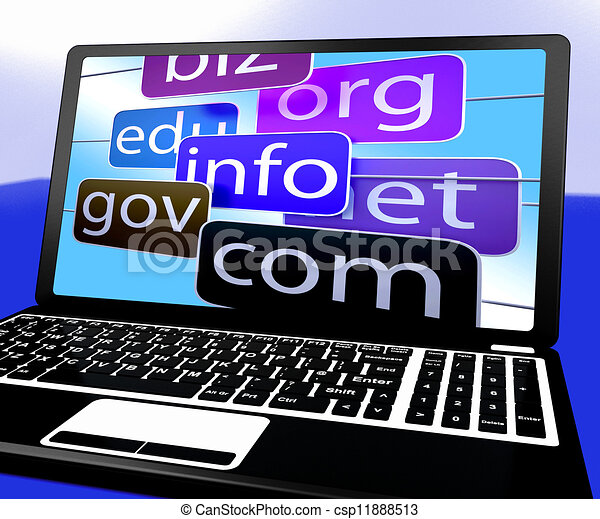 Clipart Of Domains On Laptop Showing Internet Websites And