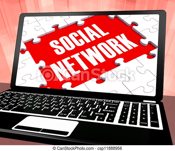 Social Network On Laptop Shows Online Communities - csp11888956