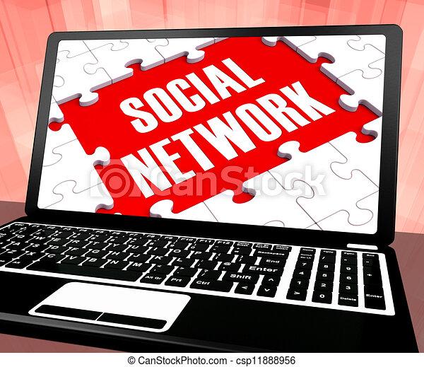 Social Network On Laptop Shows Online Communities - csp11888956