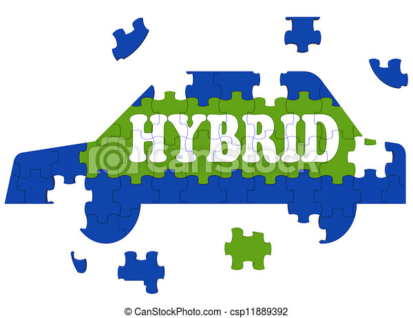 Hybrid Car Means Electric Eco-friendly Automobile - csp11889392