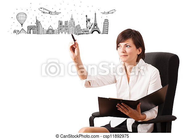 Young woman drawing famous cities and landmarks on whiteboard  - csp11892975