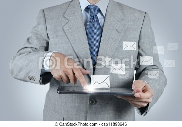 hand use tablet computer with email icon - csp11893646