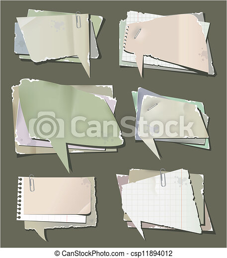 Retro paper bubbles speech - csp11894012