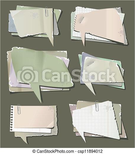 Retro paper bubbles speech - csp11894012