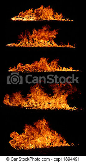 High resolution fire collection isolated on black background - csp11894491