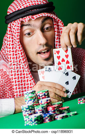Arab playing in casino - gambling concept with man - csp11896931