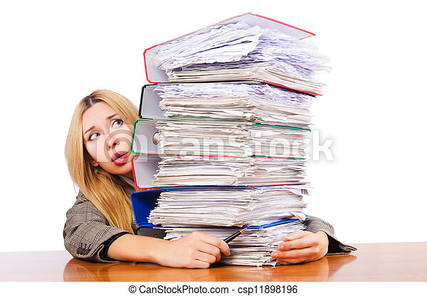Busy woman with stacks of paper - csp11898196