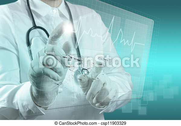Medicine doctor working with modern computer  - csp11903329