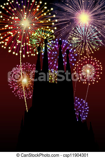 Fireworks Happy New Year Tibidabo Church - csp11904301