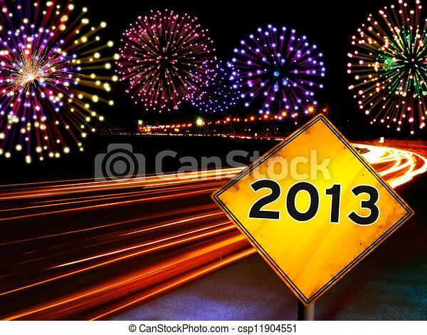 Happy New Year fireworks city - csp11904551