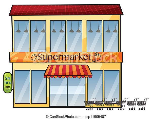 Supermarkt gebäude clipart  Vektor Clipart von supermarkt - abbildung, von, a, supermarkt, auf ...