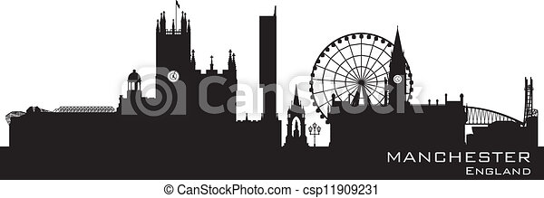 Manchester, England skyline. Detailed silhouette - csp11909231