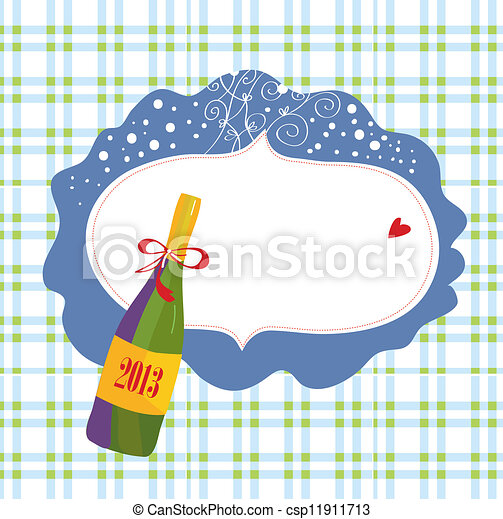 Bottle of champagne and frame christmas card - csp11911713