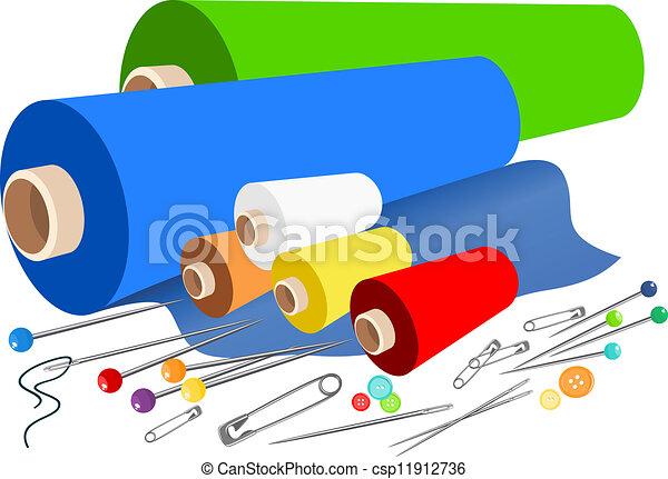 Vecteurs de vecteur tissu couture accessoires - Telas con dibujos infantiles ...