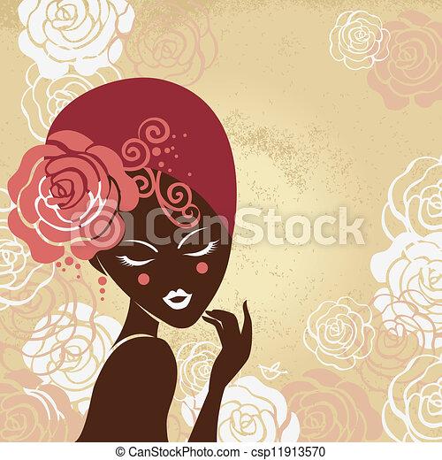 Retro beautiful woman silhouette - csp11913570