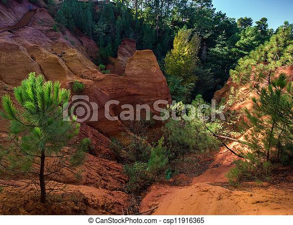Red rocs of jaune in Roussilon - csp11916365