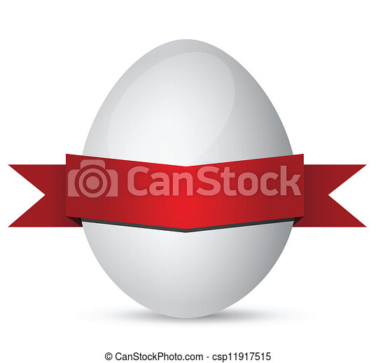 white Easter eggs with red ribbon - csp11917515