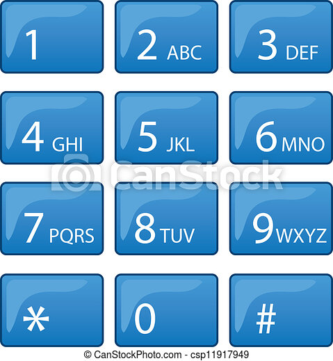 EPS Vector of Phone Dial Pad - Isolated phone dial pad with blue ...