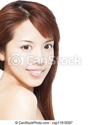 close up of beautiful smiling asian young woman face - csp11918397