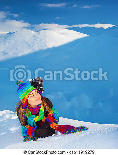 Woman in snowy mountains - csp11919279