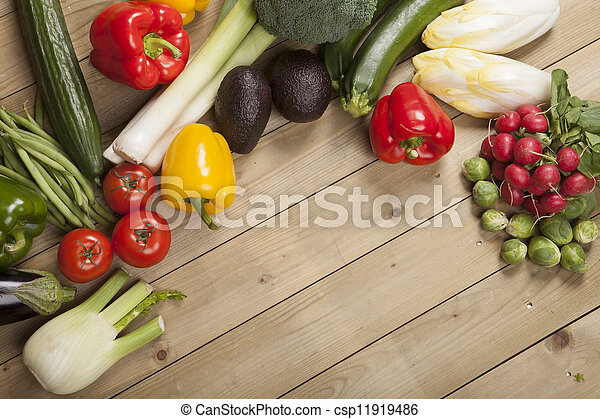 Vegetables on wooden surface - csp11919486