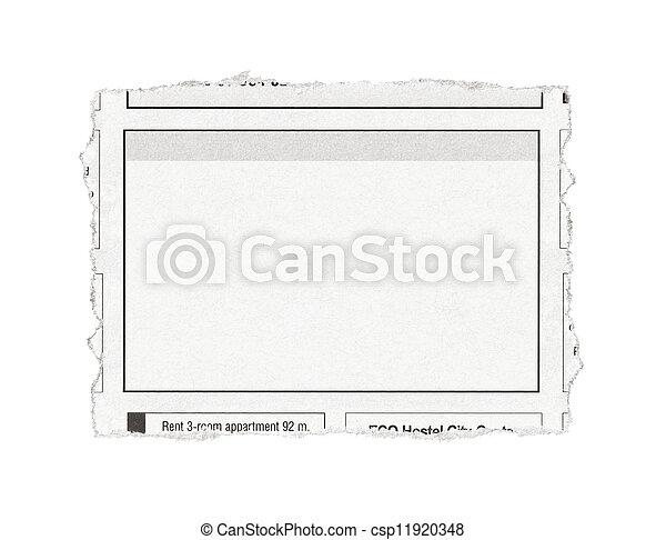 Stock foto van advertentie leeg stuk van papier met advertentie csp11920348 zoek - Advertentie stuk ...