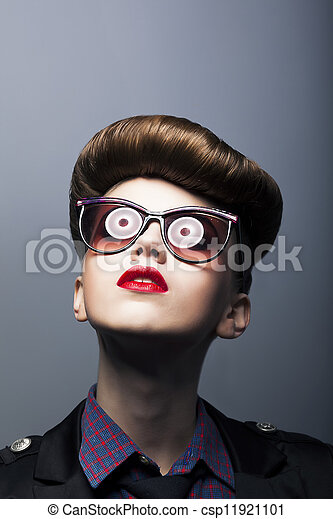 Funny Ridiculous Girl wearing Comic Sunglasses - Joke - csp11921101
