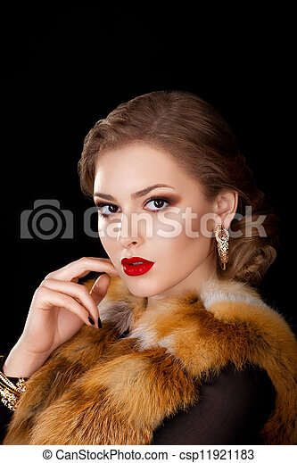Beautiful Woman in Coat with Fox Fur Collar - Opera Cloak. Holidays - csp11921183