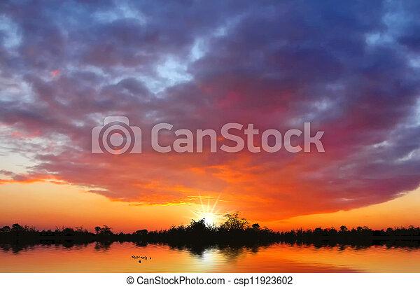 tramonto, lago - csp11923602