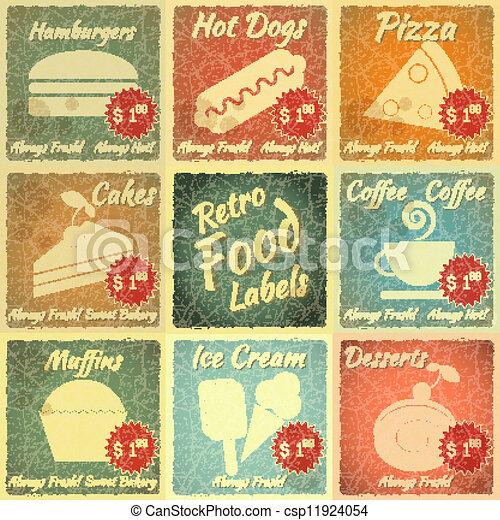 Clipart Vector of Set of Retro Food Labels - Set of ...
