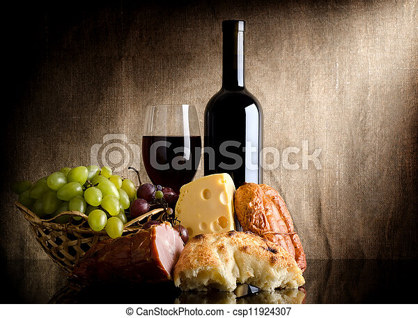 Wine bottle and food - csp11924307