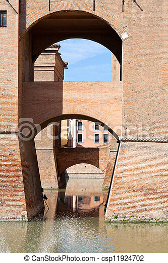 moat and bridges of Castle Estense in Ferrara - csp11924702