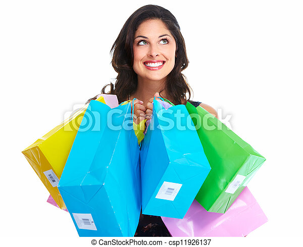 Beautiful woman with a shopping bag. - csp11926137