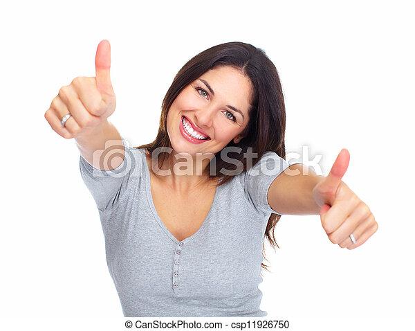 mujer, retrato, joven, feliz - csp11926750