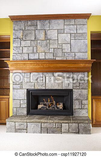 stock de fotos piedra gas natural madera hacer repisas de chimenea de chimenea