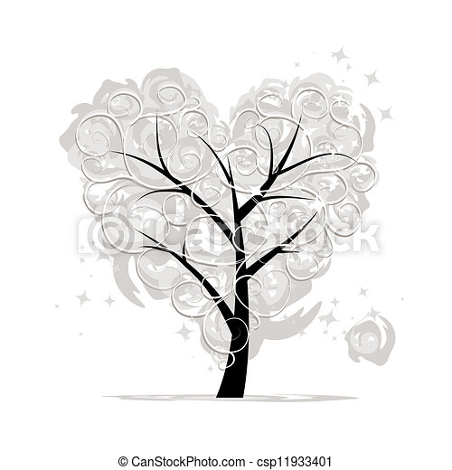 Love tree, heart shape for your design - csp11933401