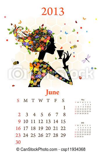 Fashion girls 2013 calendar year, june - csp11934368
