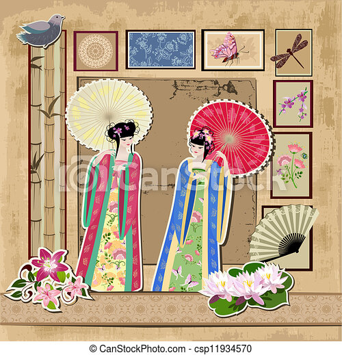 scrapbooking. Asian girl with vintage patterns - csp11934570