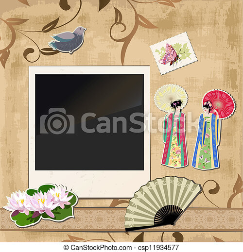 scrapbooking. Asian girl with vintage patterns for your design - csp11934577