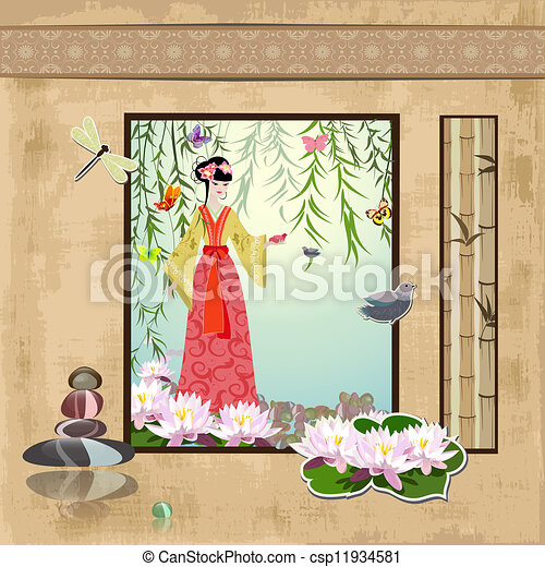 scrapbooking. Asian girl with vintage patterns - csp11934581