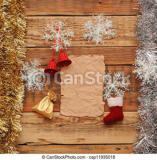 stock fotografie von weihnachten dekoration weinlese papier holz hintergrund csp11935018. Black Bedroom Furniture Sets. Home Design Ideas