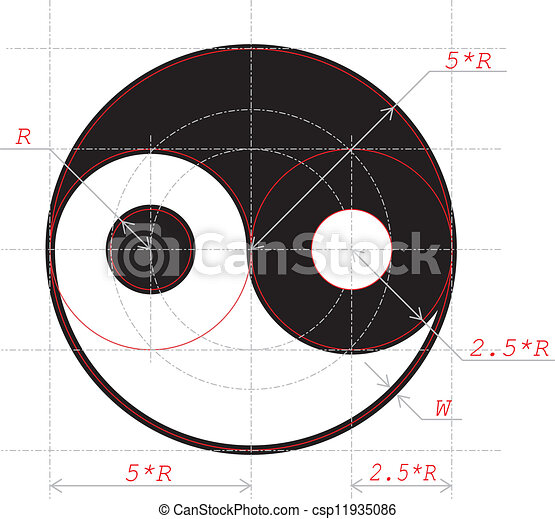 Scheme for drawing of Yin and Yang abstract symbol - csp11935086