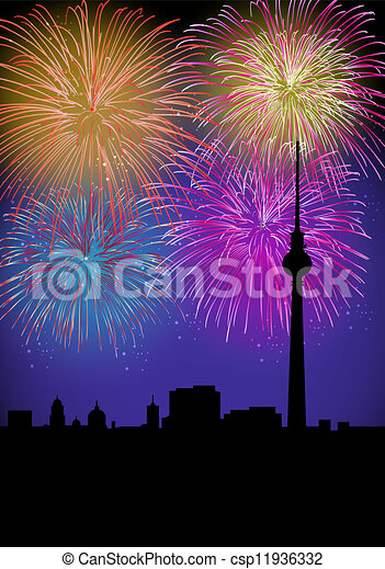 Happy New Year fireworks Germany landmark - csp11936332