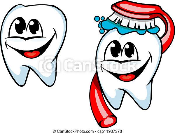 Ilustraciones vectoriales de limpio, diente, cepillo de dientes, pasta ...
