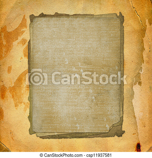 Grunge alienated paper design in scrapbooking style on the abstract background - csp11937581