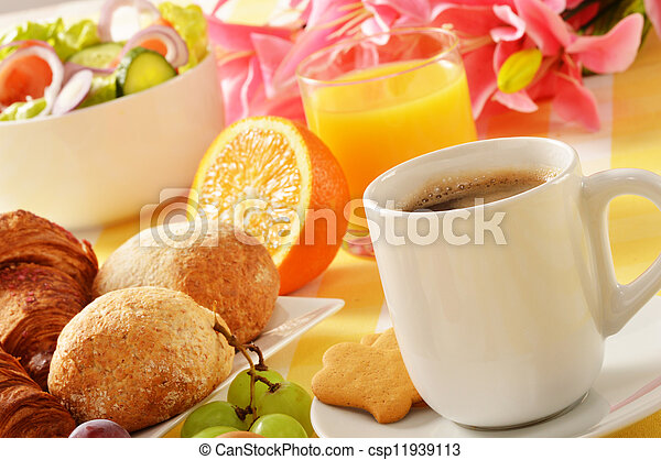 Composition with breakfast on the table - csp11939113