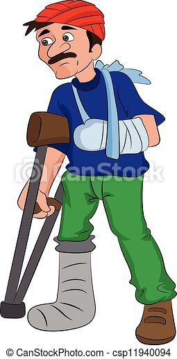 Man with an Injured Head Arm and Leg, illustration - csp11940094
