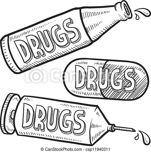Vektor clip art von drogen skizze alkohol gekritzel for How to draw a pill