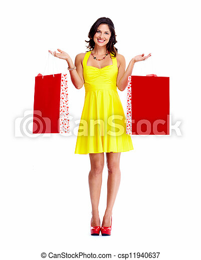 Beautiful woman with a shopping bags. - csp11940637